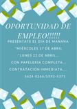 OPORTUNIDAD DE EMPLEO!!!! CONTRATACIÓN INMEDIATA