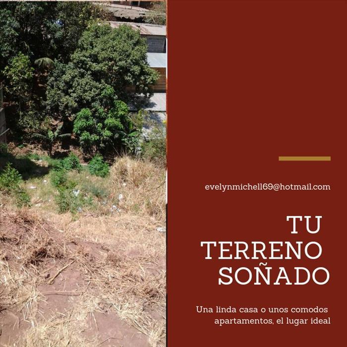 VENDO TERRENO IDEAL PARA CASA AMPLIA Y/O APARTAMENTOS