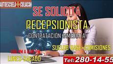 SE SOLICITA RECEPCIONISTA EN ESCUELA DE MANEJOCLN.