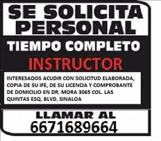 SOLICITAMOS INSTRUCTORES DE MANEJO