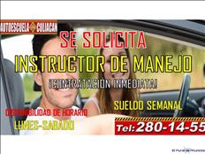 SE SOLICITA INSTRUCTOR EN ESCUELA DE MANEJO