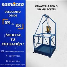 Canastilla individual izada con malacate