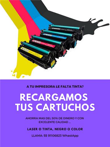 RECARGA DE CONSUMIBLES TINTA Y TONER