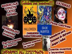 catrinas, pinta caritas, animadores para halloween