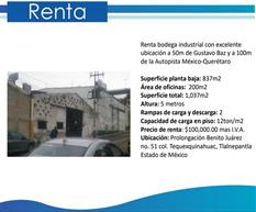 Rento bodega de 1037 m2 en estado de México