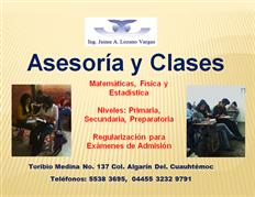 Clases y Asesorías de Matemáticas,Física y Estadística