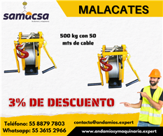 Malacate 50 mts de cable