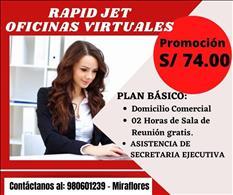 ALQUILER DE OFICINA VIRTUAL A S/ 74.00