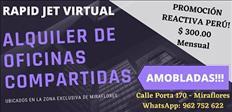 ALQUILER DE OFICINA COMPARTIDA AMOBLADA EN MIRAFLORES