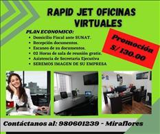 ALQUILER DE OFICINA VIRTUAL A S/ 130.00